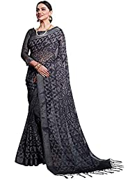 AKHILAM Women's Digital Printed Linen Saree with Unstitched Blouse Piece (Black_6ARDHN27009)