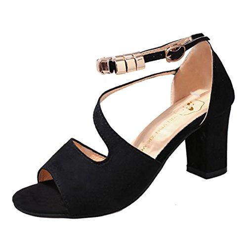 Sandalen Damen Kolylong® Frauen Elegant Schwarz Schuhe mit Absatz Vintage Wildleder Sandalette Mode High Heels Schuhe für Frühling Mädchen Sommer Sandalen Party Wedding Hochzeitsschuhe (36, Schwarz) (Hochzeits-strand-sandalen)