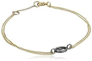 Rachel Entwistle Black Rhodium Plated and Gold Filled Chain Mini Alchemy Symbol Salt Bracelet