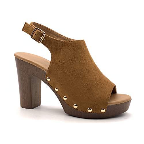 Camel High Heels (Angkorly - Damen Schuhe Sandalen Mule - High Heels - Vintage/Retro - Plateauschuhe - Holzeffekt - Nieten-Besetzt Blockabsatz high Heel 10 cm - Camel YL129 T 38)