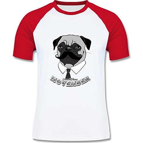 Statement Shirts - Movember Mops - zweifarbiges Baseballshirt für Männer Weiß/Rot