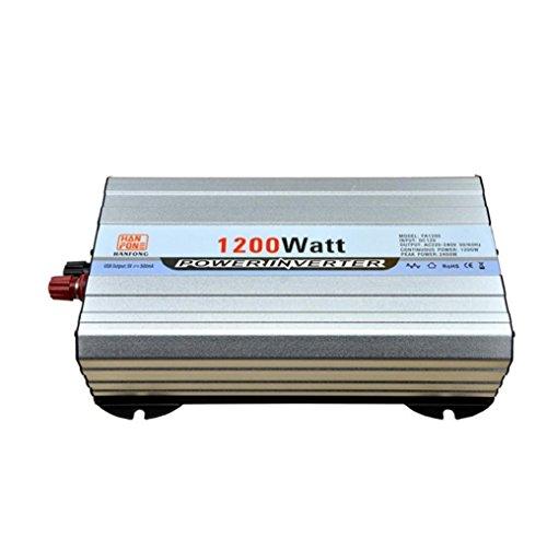Power Inverter Transformer Auto Spannung Power Inverter 1200W DC 12V auf AC 220V Konverter Zigarettenanzünder 2USB Auto Ladegerät (Silber) (Jump Starter-pumpe)