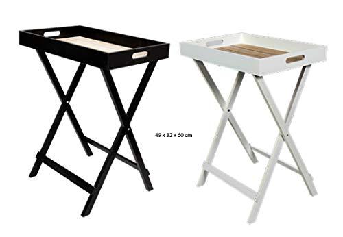Riyashop Butler Tray Schwarz - braun Tablett Beistelltisch klappbar Serviertisch Holz