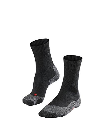 FALKE TK2 Damen Trekkingsocken / Wandersocken - schwarz, Gr. 37-38, 1 Paar, extra starke Polsterung, Merinowolle, feuchtigkeitsregulierend - Frauen Stiefel Angeln Für