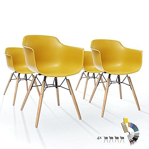Lot de 4 Chaises LTD83 Chaise Salle à Manger en Plastique Jaune Confortable Polypropylen Pied Massif Bois Scandinave Salon Bistrot Industrielle Vintage