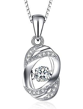 J.Vénus Damen Schmuck, Kette Damen Silber Halskette 925 Sterling Silber Zirkonia Herz Anhänger
