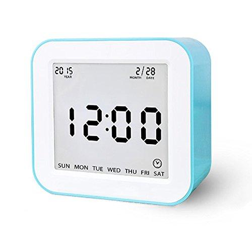 Digital Wecker, Schwerkraft-Sensor Wecker Multi Funktionen Wecker betrieben mit großen Bildschirm, Datum, Zeit, Kalender, Temperaturanzeige, Alarm, Countdown für Kinder, Jugendliche, Teenager Blau