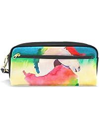 Estuche para lápices de gran capacidad, colorido unicornio arcoíris, bolsa de papelería con cremallera