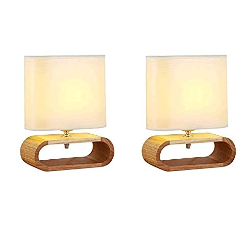2er Set Gesundheit Holz Tischlampen Hohe Wärmestrahlung Tuch Der lampenschirm Tischleuchte