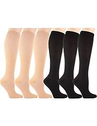 6 Pares Rodilla Alta Calcetines de Compresión - para Hombres y Mujeres (15-20mmHg
