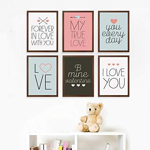 Fa lemon dolce 14 febbraio san valentino tela pittura stampa artistica poster immagine decorazione domestica-21x30cmx6 pezzi senza cornice