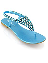 000f077ae61cba ESSEX GLAM LADIES FLAT DIAMANTE TOE POST SLINGBACK WOMENS PEARL HOLIDAY  DRESSY PARTY SANDALS SIZE 3