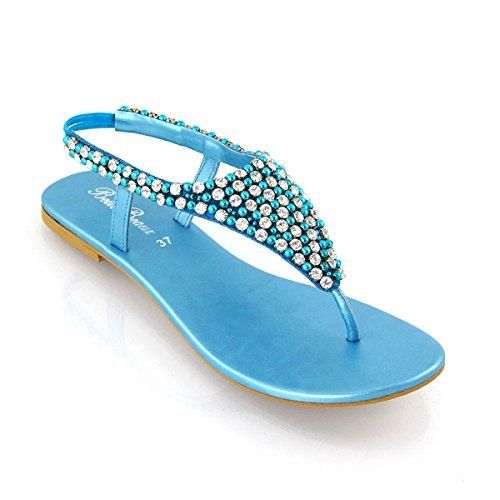 Essex Glam - Damen Zehensteg Sandalen Flip Flops Mit Strasssteine - Synthetik, EU 39, Türkis (Belle Bridal Shoes)