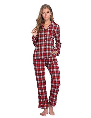 Lusofie Damen Baumwolle Pyjama Set Langarm Schlafanzug Button Down Plaid Zweiteiliger Nachtwäsche Hausanzug mit Taschen (1401 Rot,XXL) - Rot Plaid Lounge