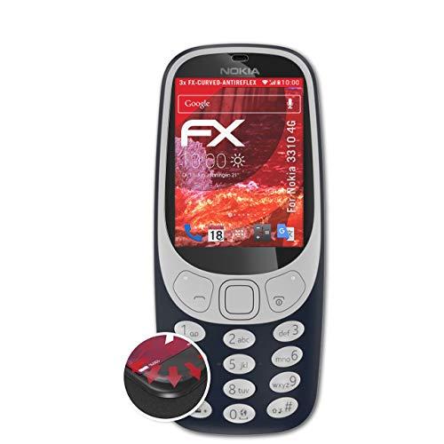 atFolix Schutzfolie passend für Nokia 3310 4G Folie, entspiegelnde & Flexible FX Bildschirmschutzfolie (3X)