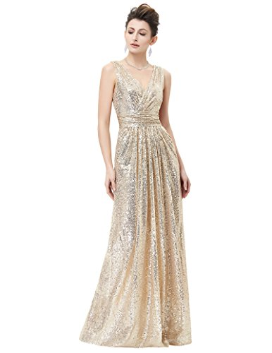 Abendkleid für Damen Bodenlang sexy Hochzeit Kleid licht Gold Größe 40 KK199-1 - 2