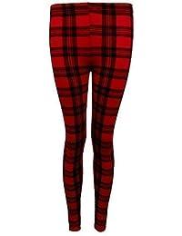 Zafiro Mujer Negro Rojo De Cuadros Tartán Fiesta Casual Pantalones De Mujer Pantalones Leggings