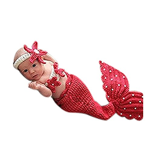 borene Jungen Mädchen Baby Outfits gestrickt Fotografie Requisiten Cute Mermaid (Baby Mermaid Outfit)