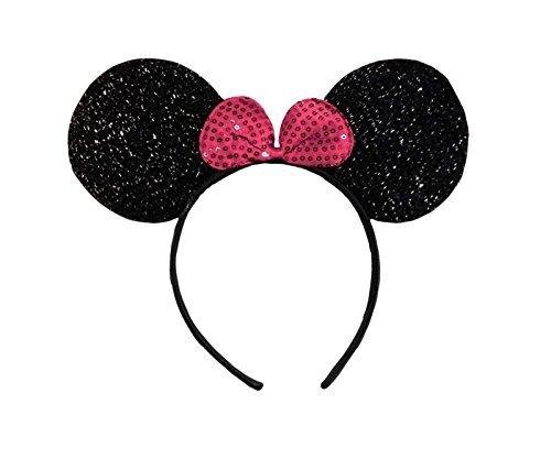 Kostüm Jeans Minnie Maus - Schwarz mit Rosa Bow (Minnie Mouse Glitter Ears) Glitzernden Minnie Maus Ohren Kostüm Haarband