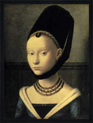 """Bild mit Rahmen: Petrus Christus, """"Bildnis einer jungen Frau"""", 52 x 70 - Holz Fortuna L: Schwarz matt"""