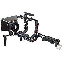 FILMCITY DSLR Camara Jaula Hombro Montar Rig kit con Seguir el enfoque & Caja mate | Hombro estabilizador apoyo Para Videocámara DV HD DSLR | Mejor kit asequible (FC-03)