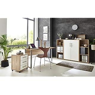 BMG-Moebel.de Büromöbel komplett Set Arbeitszimmer Office Edition Mini in Sonoma Eiche/Weiß Matt (Set 2)