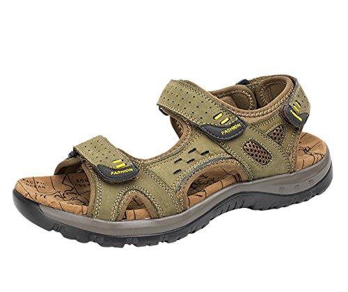 SK Studio Herren Leder Strand Sandalen Mit Klettverschluss Atmungsaktiv Trekkingsandalen Outdoor Sandale Wasserfest Khaki grün 41 EU - Extra Breite Leder-sandalen