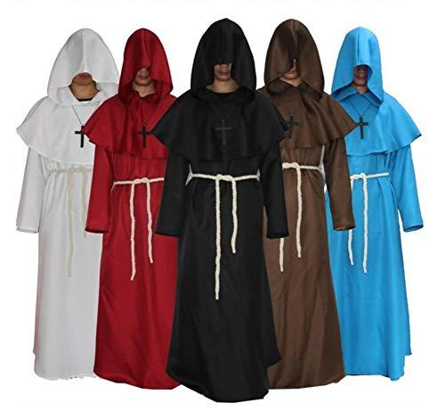 QIONGQIONG Halloween-Kostüm Cape Cloak Kapuzen Lange Kleider Party Cosplay Schwarz/Rot/Braun/Weiß/Blau,Black,L