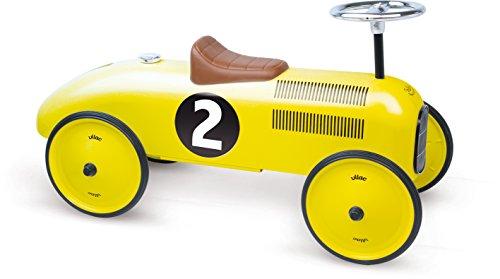 Vilac - Porteurs et Trotteurs - Voiture de course porteur métal jaune