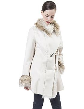 De las Mujeres Vendimia Calentar Mullido Abrigo de piel Sintética Chaqueta Beige