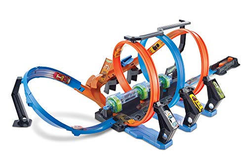 Hot Wheels FTB65 - Action Korkenzieher Crash Trackset, Auto Rennbahn mit 3 Loopings und Beschleuniger für Spielzeugautos, Spielzeug ab 5 Jahren