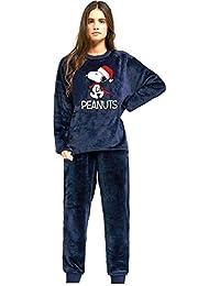 3017e955c Snoopy Pijama Mujer Manga Larga Coralina Marino