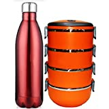 Megalite Hot & Cold Insulated Bottle With Stainless Steel Lunch Box Combo (Pack Of 2, Multicolor)
