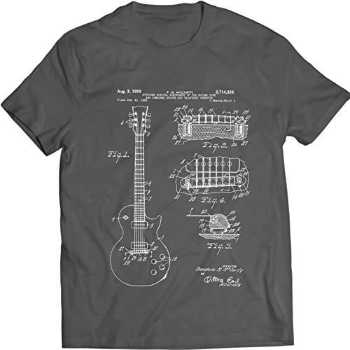 Gibson Les Paul Guitarra Camiseta Música tee Patentarar (XL, Charcoal)