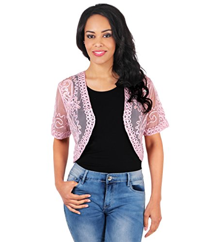 KRISP 4149-PNK-ML: Eleganter Vintage Bolero Retro Pailletten Jacke Party (Pink, Gr.M/L) (Lurex-sweater-kleid)