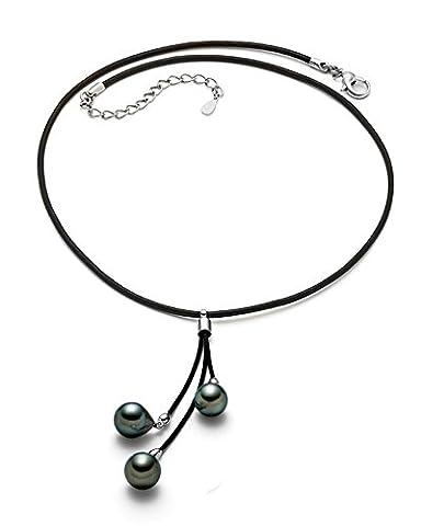 8,5–9mm Noir Baroque–Collier Femme–Perle de culture de Tahiti de qualité AA + avec cuir