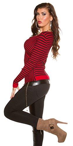 KouCla - Pull - À Rayures - Femme noir Schwarz 38 6 Rot