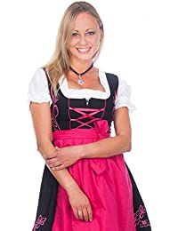 Mini Dirndl 3-teilig schwarz pink mit passender Bluse und Schürze