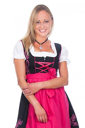 Edelnice Trachtenmode Mini Dirndl 3-teilig schwarz pink mit passender Bluse und Schürze