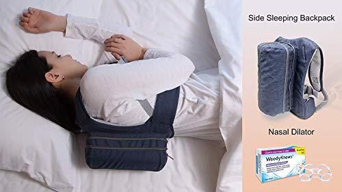 WoodyKnows Kombination aus Side Sleeping Rucksack Anti-Snoring Verstellbares Kissen und Nasendilatatoren, Lösung für Zunge Schnarchen, Alternative zum Mundstück -