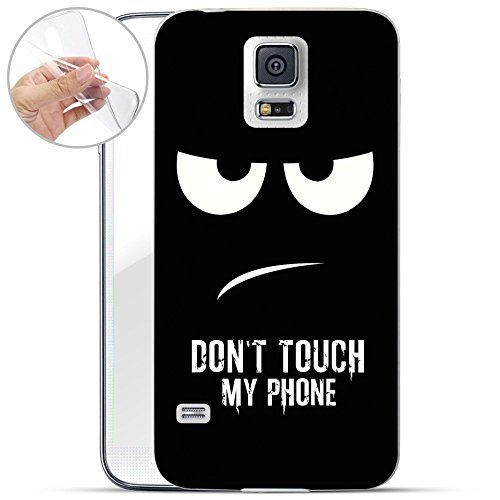 finoo | Samsung Galaxy S5 Mini Weiche flexible Silikon-Handy-Hülle | Transparente TPU Cover Schale mit Motiv | Tasche Case Etui mit Ultra Slim Rundum-schutz | Don't touch my phone (Body Coverage Touch Full)