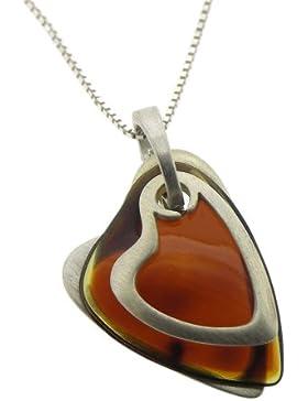 Nova Silver Halskette mit Anhänger Dreifaches Herz cognacfarbener Bernstein 46 cm
