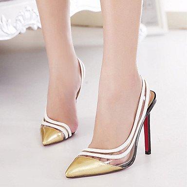 Moda Donna Sandali Sexy donna tacchi Primavera / Estate / Autunno / Inverno Comfort PVC matrimonio abito / Stiletto Heel Slip-on rosso / oro altri Red