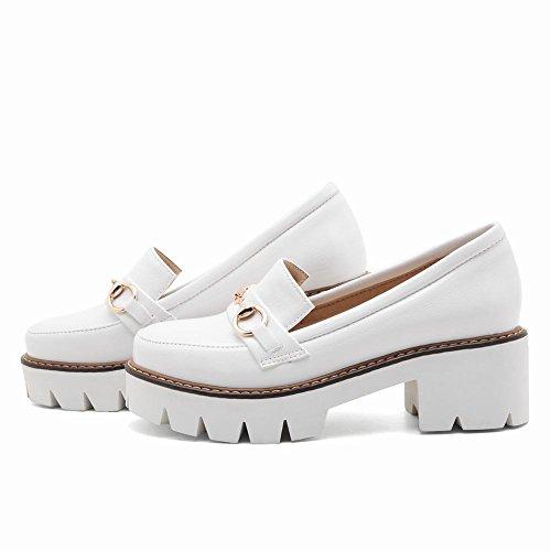 Mee Shoes Damen chunky heels Plateau slip on Pumps Weiß