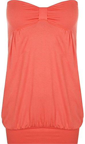 Blase Saum Bluse (WearAll - Damen Übergröße Einfarbig Trägerlos Lang Bandeau Top - Koralle - 44-46)