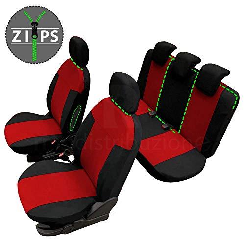 Coprisedili Fodere Copri sedili per Clio Versione (2012 - in Poi (IV)) con Aperture per poggiatesta, eventuale bracciolo, Cinture di Sicurezza e sedili reclinabili Colore Grigio Nero R02S0700