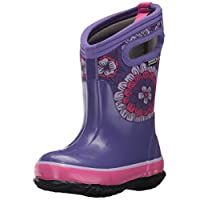 Bogs Kids Classic High Waterproof Insulated Rubber Neoprene Rain Snow Boot, Pansies Print/Purple/Multi, 10 M US Toddler