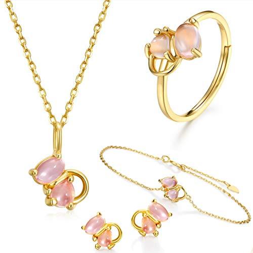 WANZIJING Kristallinitiale Halskette Armband Ring Ohrringe Set, Rosafarbener Kristall Edelstein Tropfen Anhänger Heilstein Schmuck für - Schmutz Billige Kostüm Schmuck