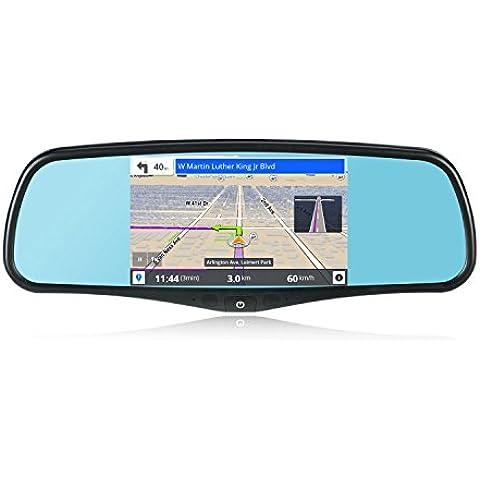 """SmarTure 5"""" Espejo de visión trasera inteligente Android Quad Core con Navegación GPS, DVR, WIFI, cámara trasera, Bluetooth, 1 GB de RAM 8 GB ROM Tarjeta de 32 GB,soporte#1 #3 y #7 para Honda, Toyota, Ford, V.W., Lexus, Mazda, y mucho"""