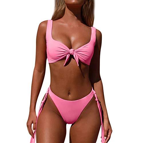 IZHH Damen Bandage Bikini Set Push Up Brasilianischer Print Bademode Beachwear Badeanzug Sling Deep V Strandmode Bikini Set Bandeau Solarium Anzug(Rosa,Medium)